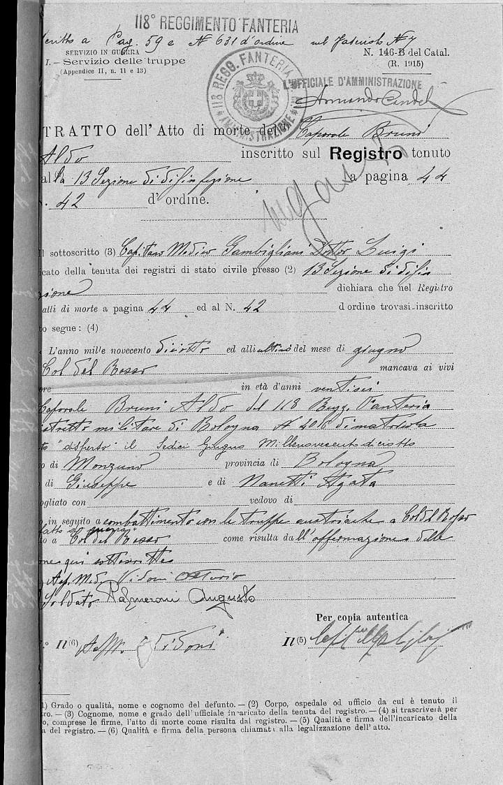 Certificato Morte Aldo Bruni - 1