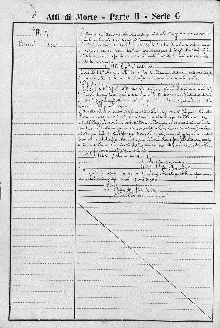 Certificato Morte Aldo Bruni - 2